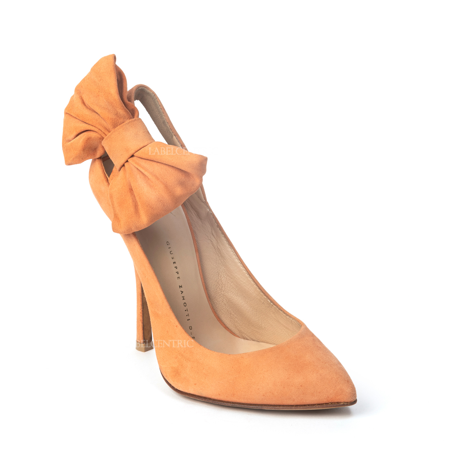Giuseppe Zanotti Coral Suede Leather Pointed Toe Pump With Side Bow