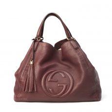 Gucci Bordeaux Pebbled Leather Large Soho Tote