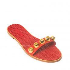 Miu Miu Red Leather Studded Slide Sandals