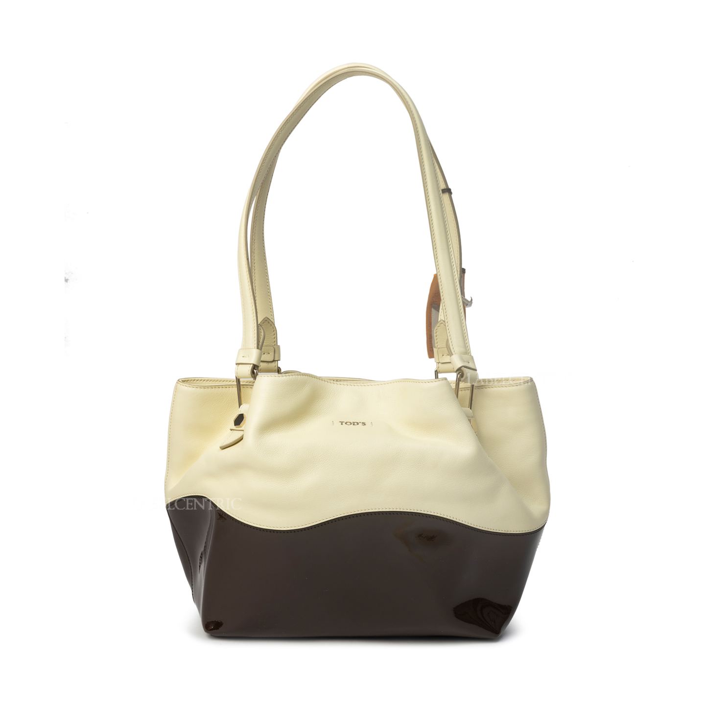 Tod's White:Burgundy Leather and Patent Leather Medium Flower Tote